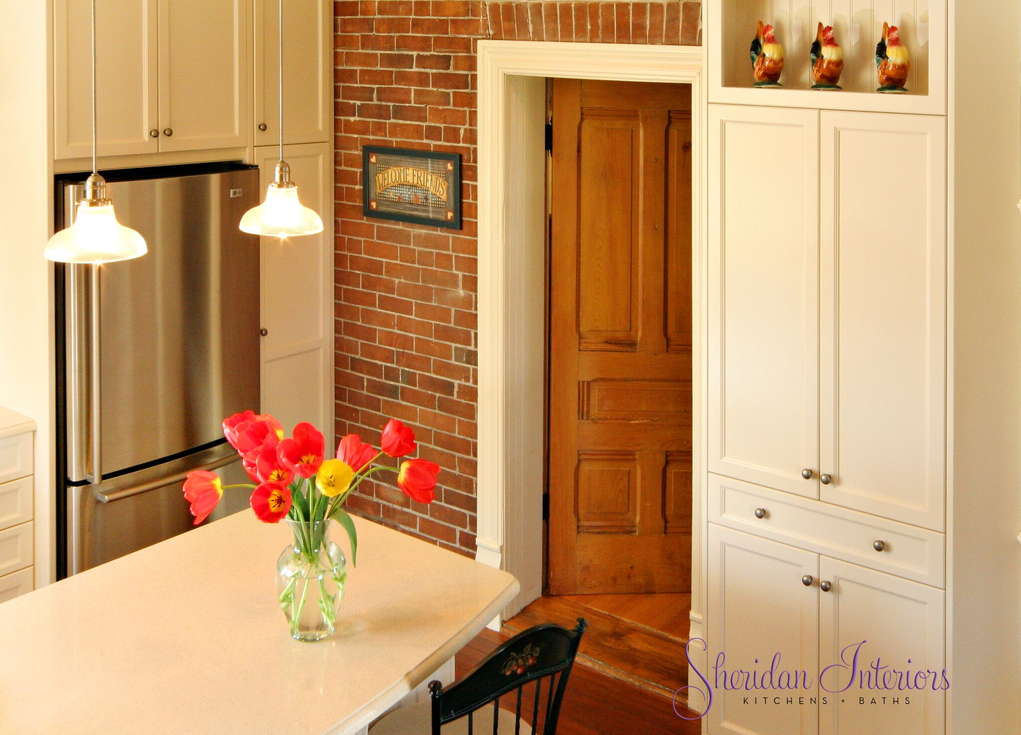 Country Kitchen with Island and Stools - Sheridan Interiors