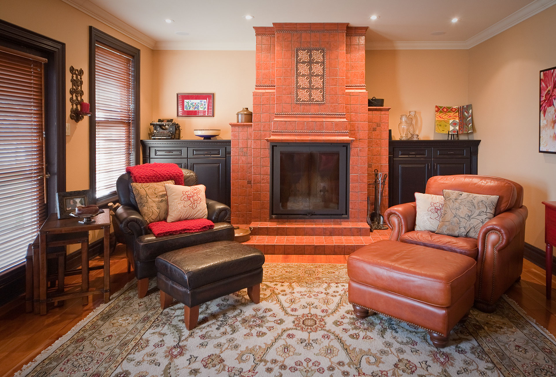 Family Room with unique tiled gas fireplace - Sheridan Interiors