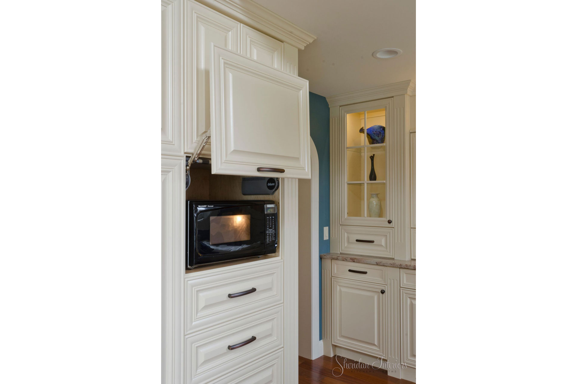 traditional kitchen, white kitchen, microwave behind lift up door, Butler's Pantry - Sheridan Interiors, sheridan interiors kitchens and baths, kitchen designer cornwall, kitchen designer ottawa
