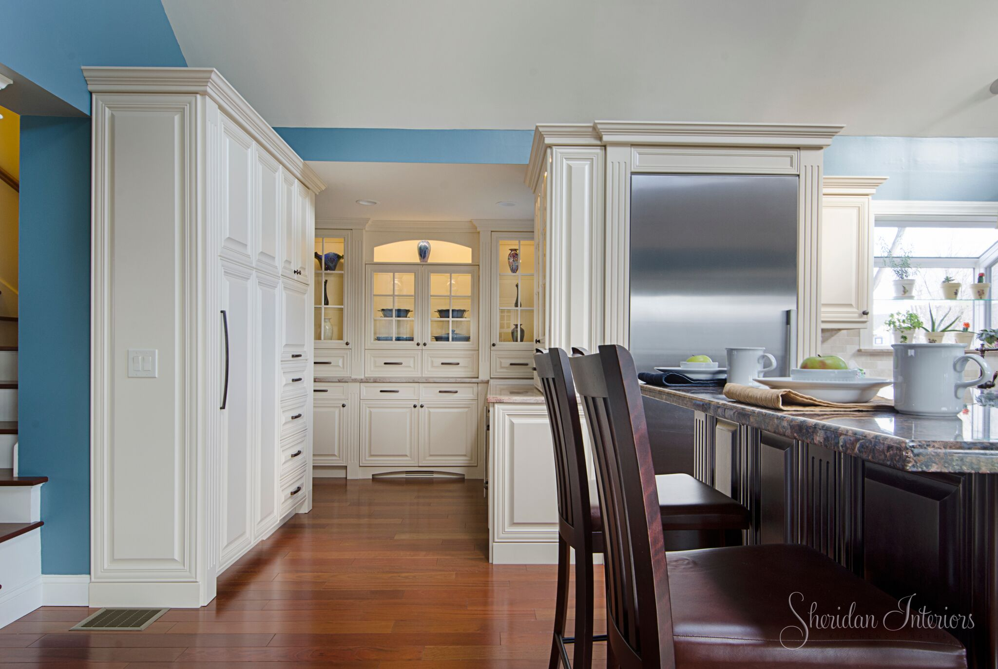 traditional kitchen, white cabinets with cherry coloured island, wood floors in kitchen, Traditional White Kitchen with Butler's Pantry - Sheridan Interiors, sheridan interiors kitchens and baths, kitchen designer cornwall, kitchen designer ottawa
