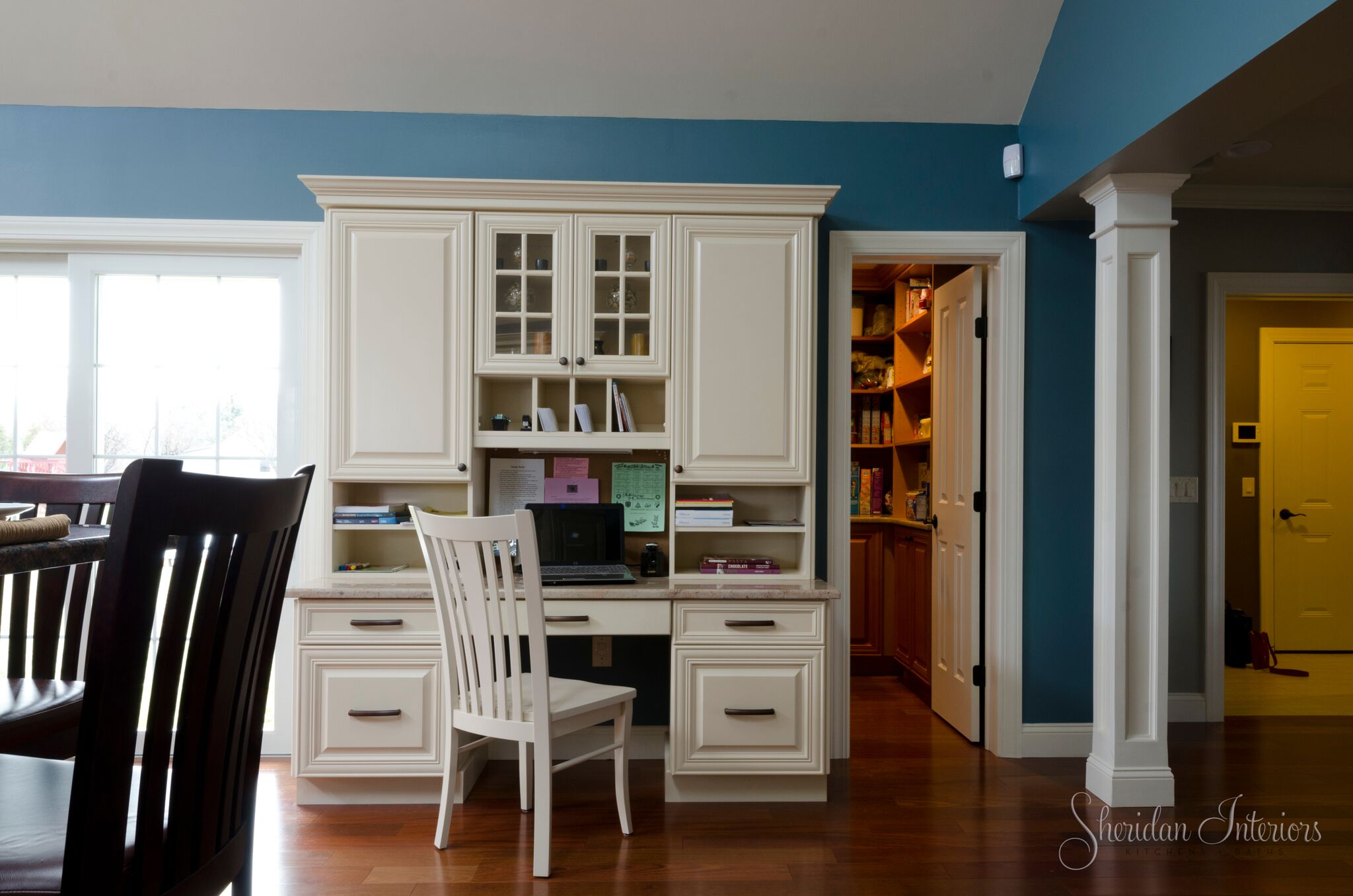 desk area in kitchen, traditional kitchen with desk, wood floors in kitchen, storage pantry traditional kitchen, Traditional Kitchen with Desk Area - Sheridan Interiors, sheridan interiors kitchens and baths, kitchen designer cornwall, kitchen designer ottawa