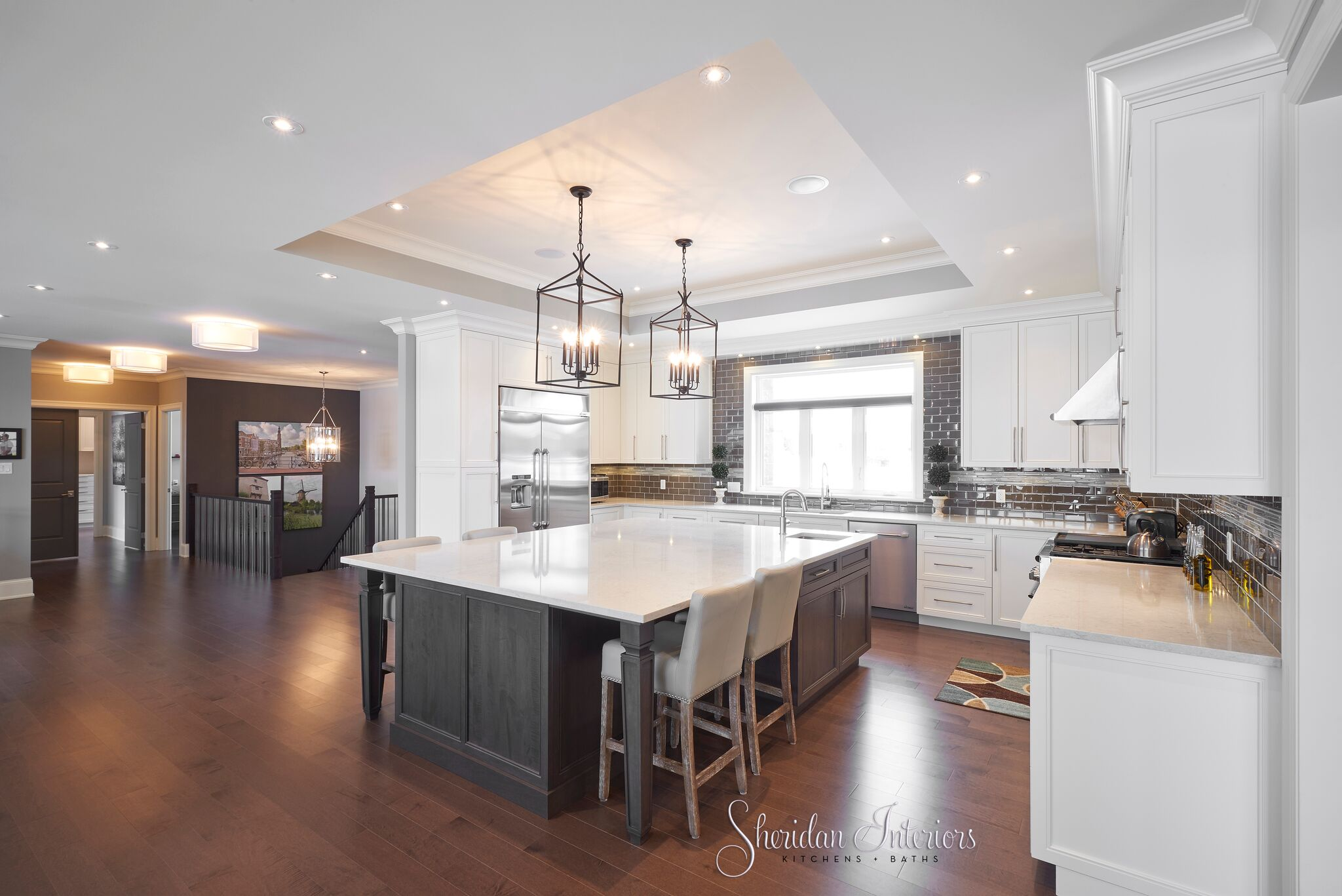Traditional White Kitchen, large island, quartz countertop