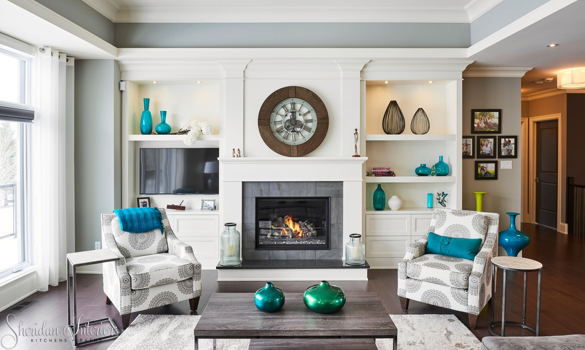 Transitional Living Room, custom built-cabinetry, fireplace, grommet drapery