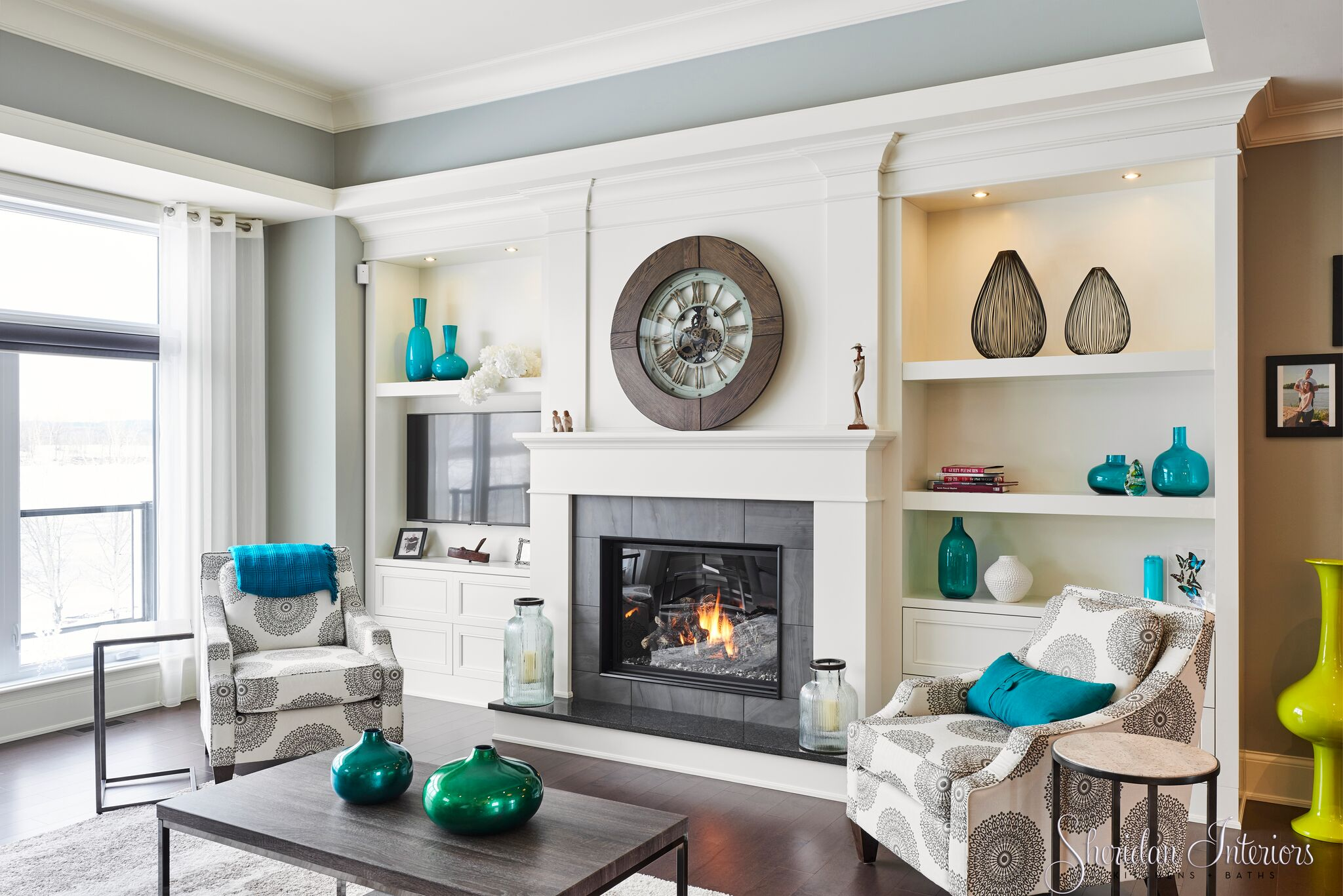 Great Room with Tray Ceiling - Sheridan Interiors