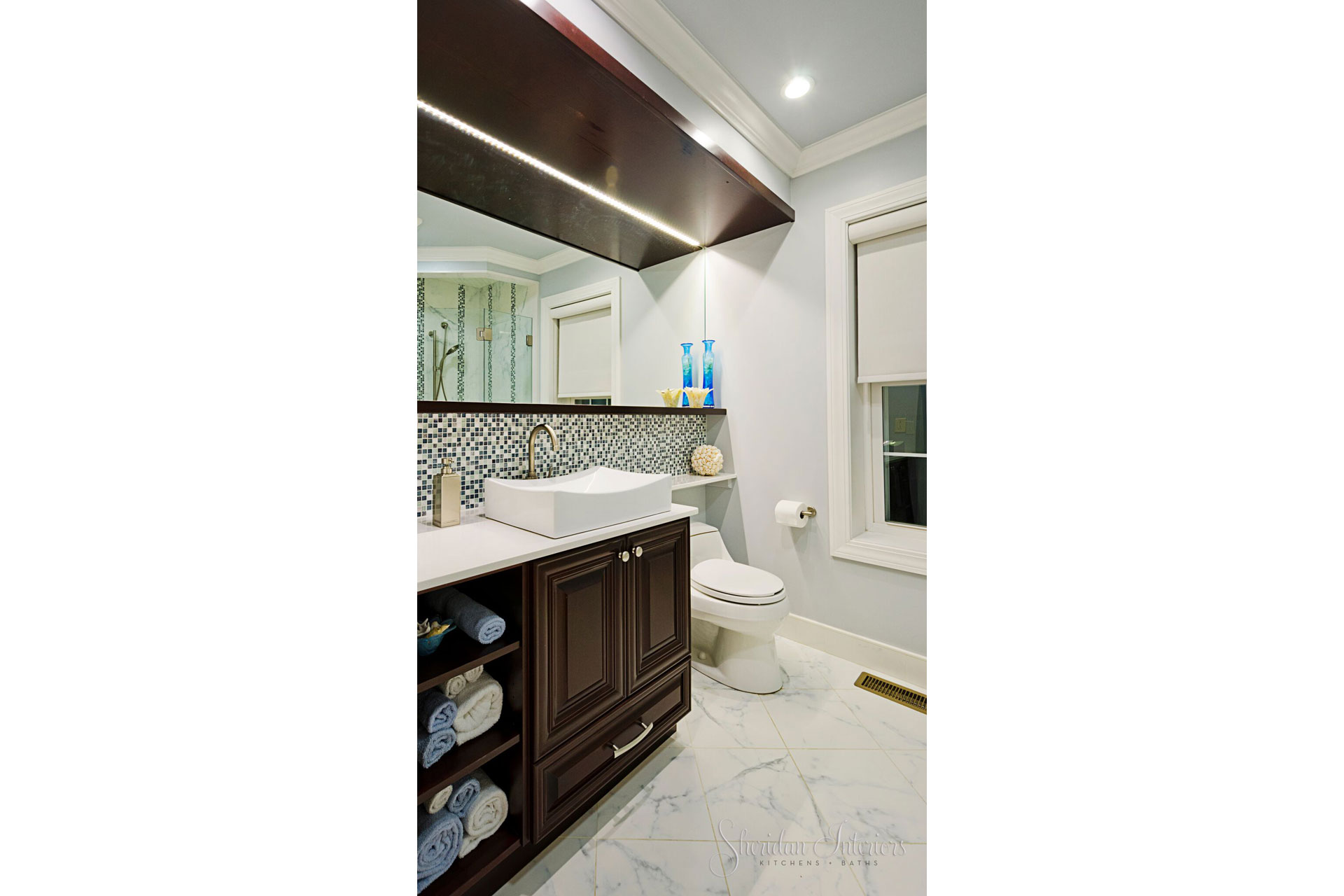 contemporary bathroom, transitional bathroom, marble floors, mosaic backsplash in bathroom, Modern Bathroom with Vessel Sink - Sheridan Interiors, sheridan interiors kitchens and baths, interior designer cornwall, interior designer ottawa, bathroom designer cornwall, bathroom designer ottawa
