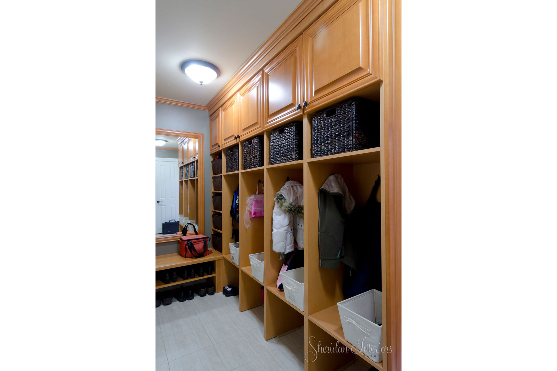 mudroom design, interior designer cornwall, interior design ottawa, Mudroom with Cubbies - Sheridan Interiors, sheridan interiors kitchens and baths