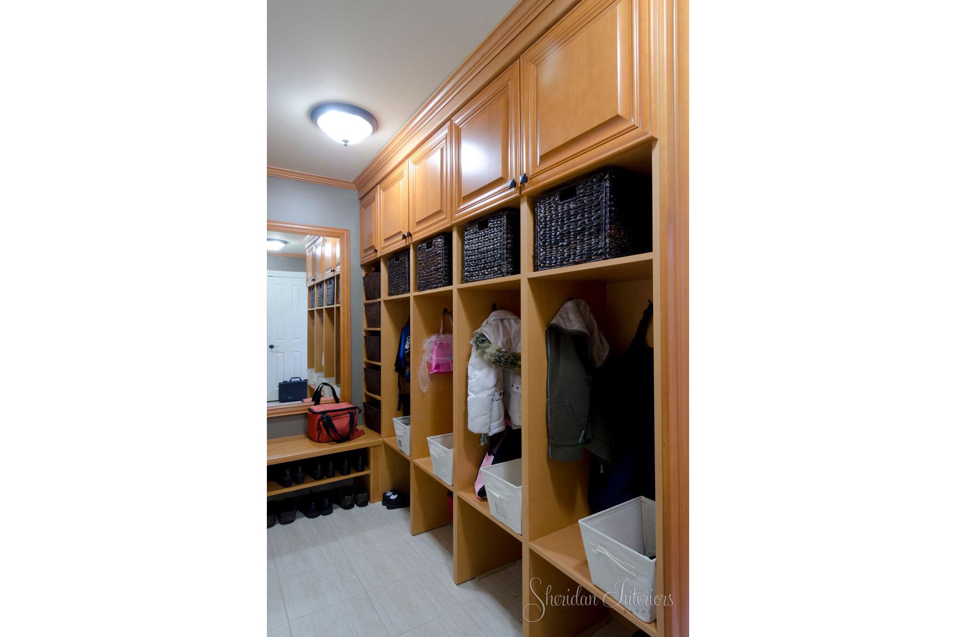mudroom design, interior designer cornwall, interior design ottawa, Mudroom with Cubbies - Sheridan Interiors, sheridan interiors kitchens and baths