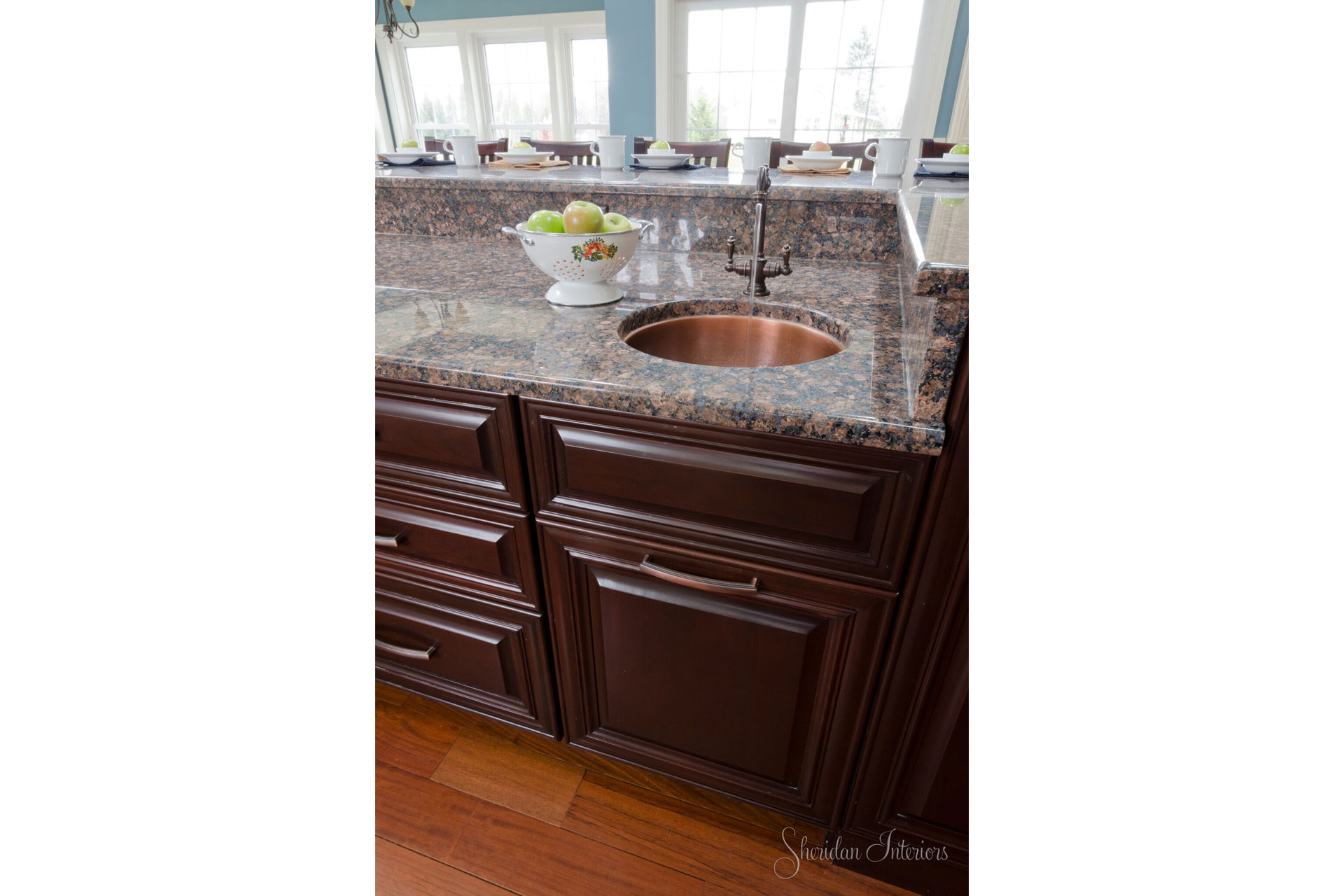 copper round sink in kitchen, Traditional Kitchen Island with Copper Bar Sink - Sheridan Interiors, sheridan interiors kitchens and baths, kitchen designer cornwall, kitchen designer ottawa