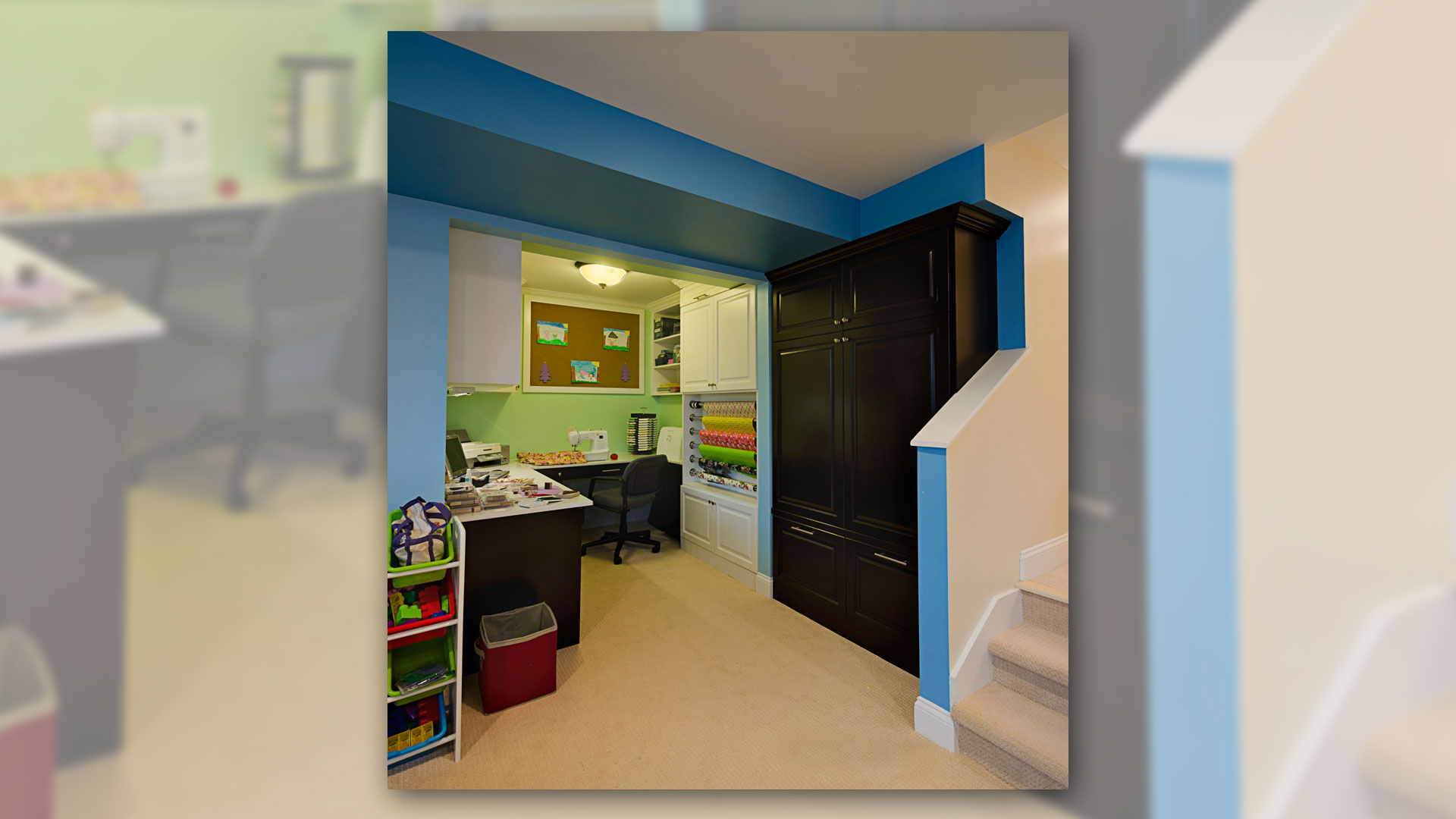 Craft Room with Built-in Cabinets - Sheridan Interiors, sheridan interiors kitchens and baths, interior designer cornwall, interior designer ottawa