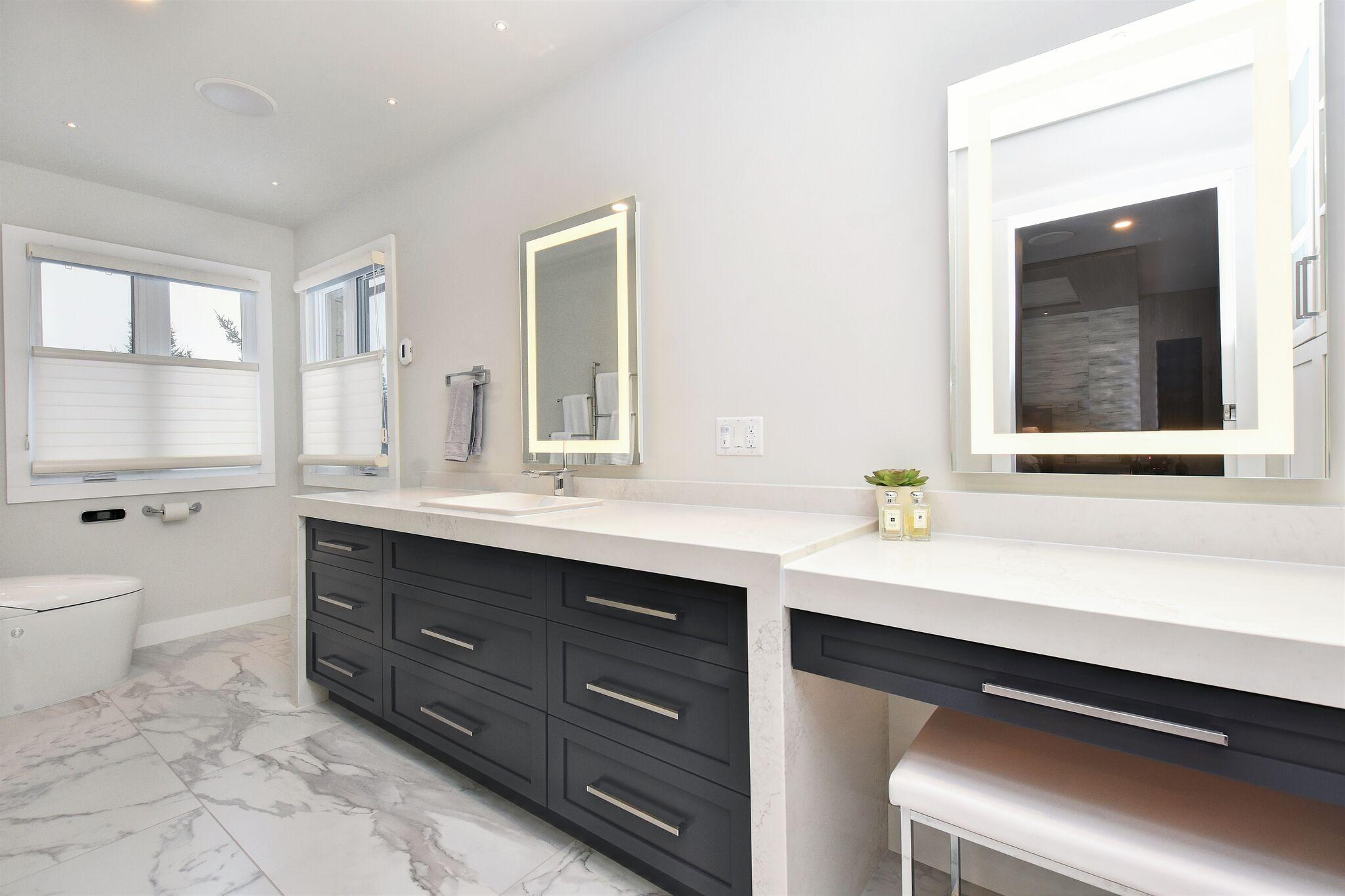 Modern Master bathroom, quartz countertop, LED lighted mirrors