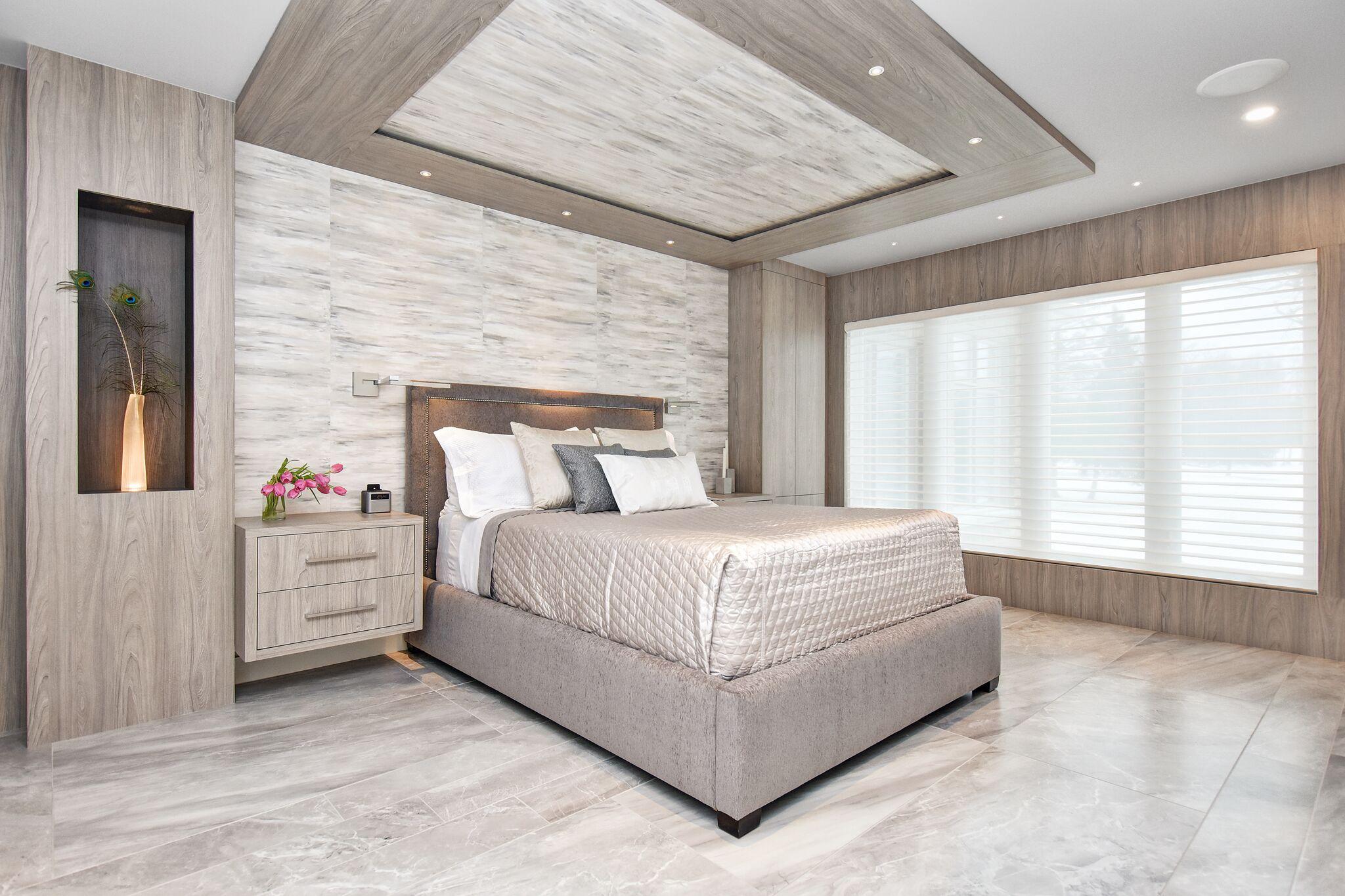 Motorized blinds, modern master bedroom, handpainted wallpaper