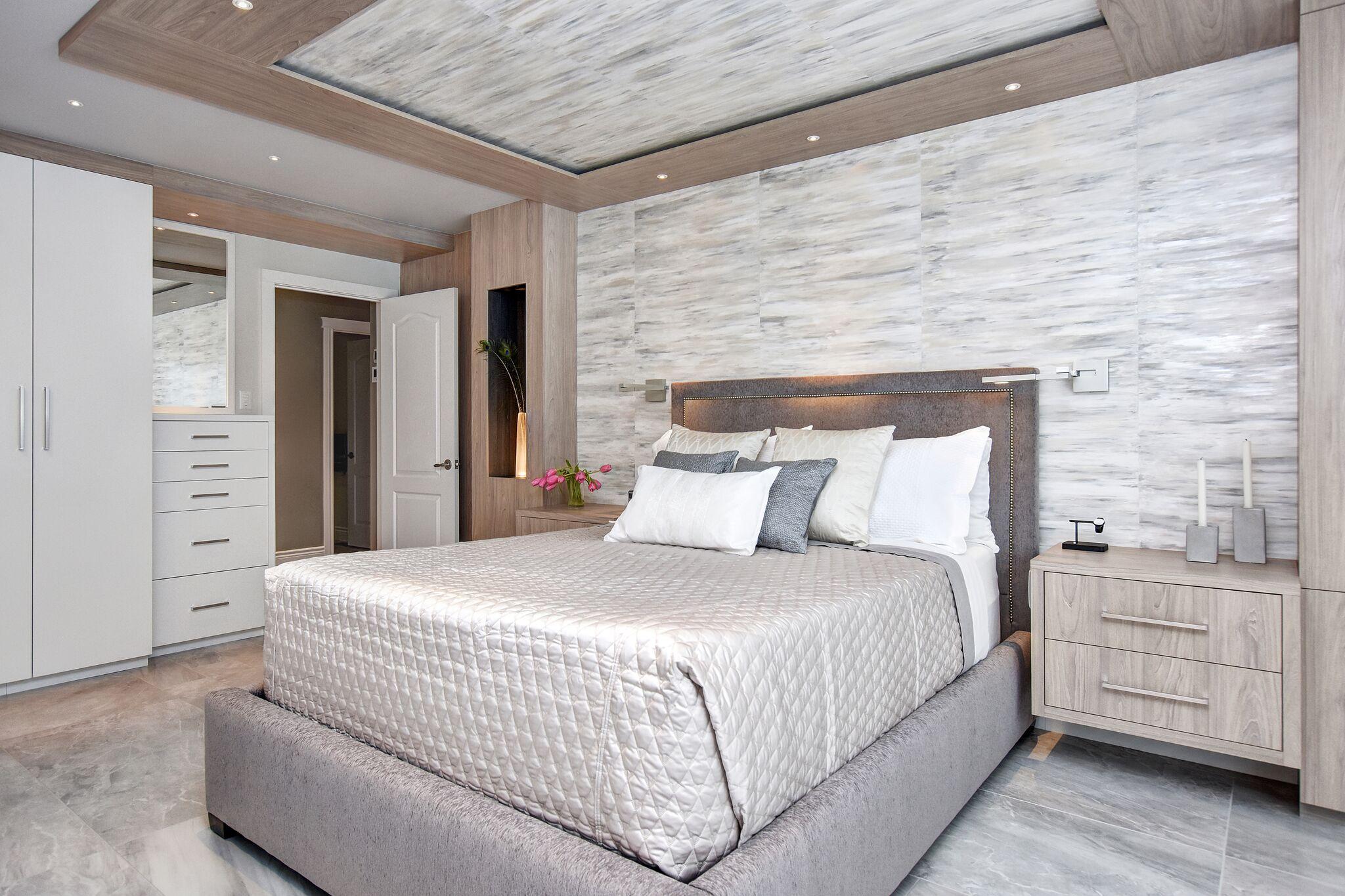 Modern master bedroom, upholstered platform bed, modern closet