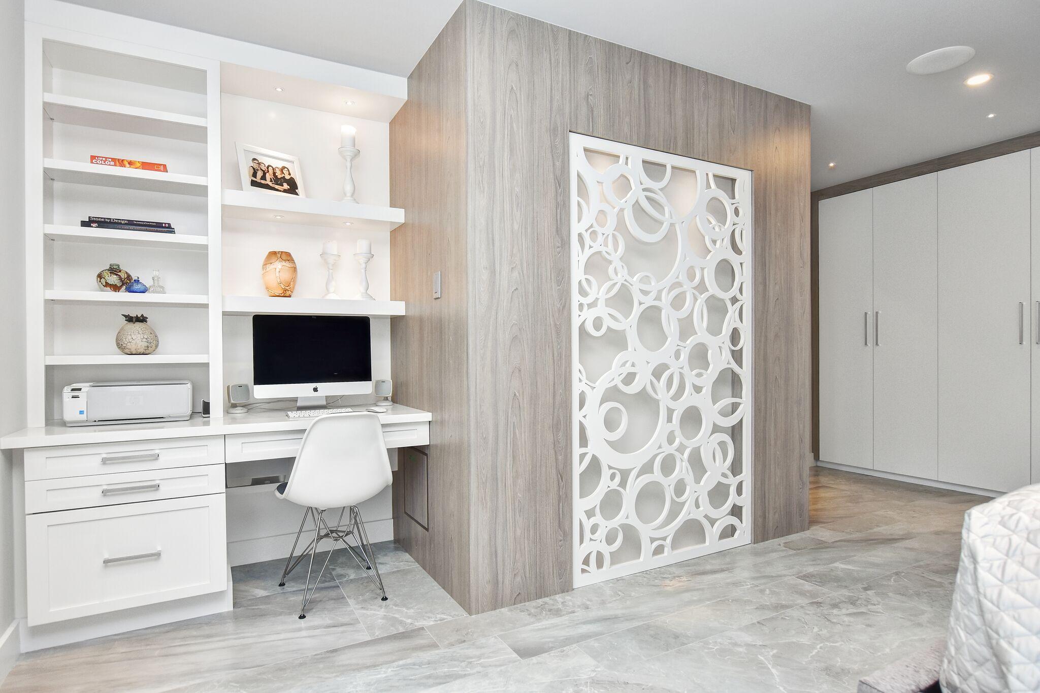 Modern master bedroom, modern closet, decorative wall panel