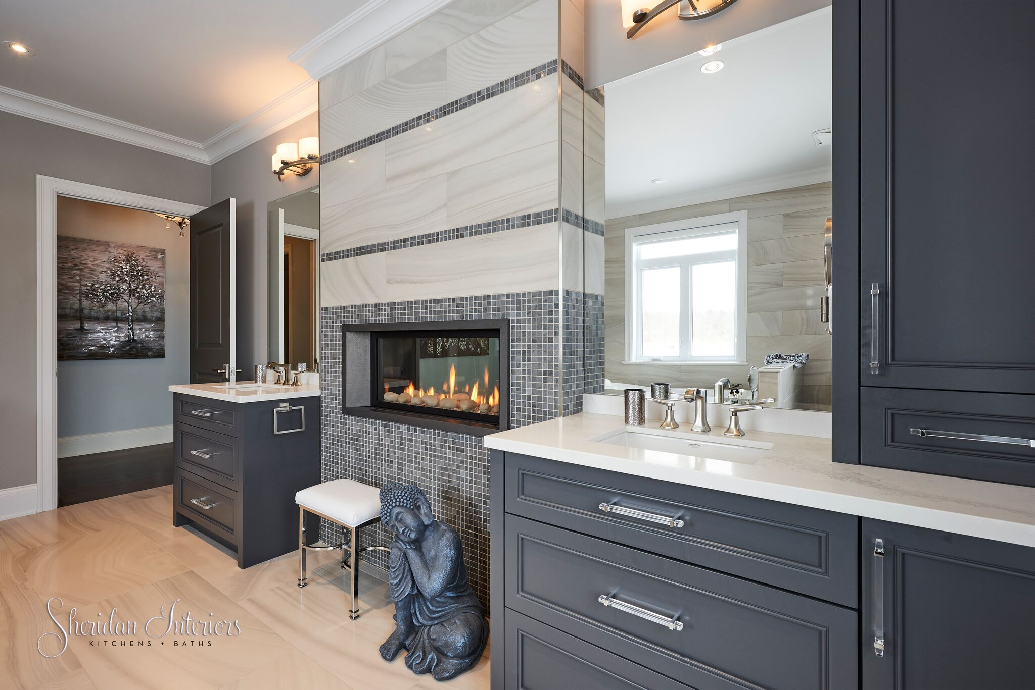 Modern master bathroom, bathroom with fireplace, vanity with drawers