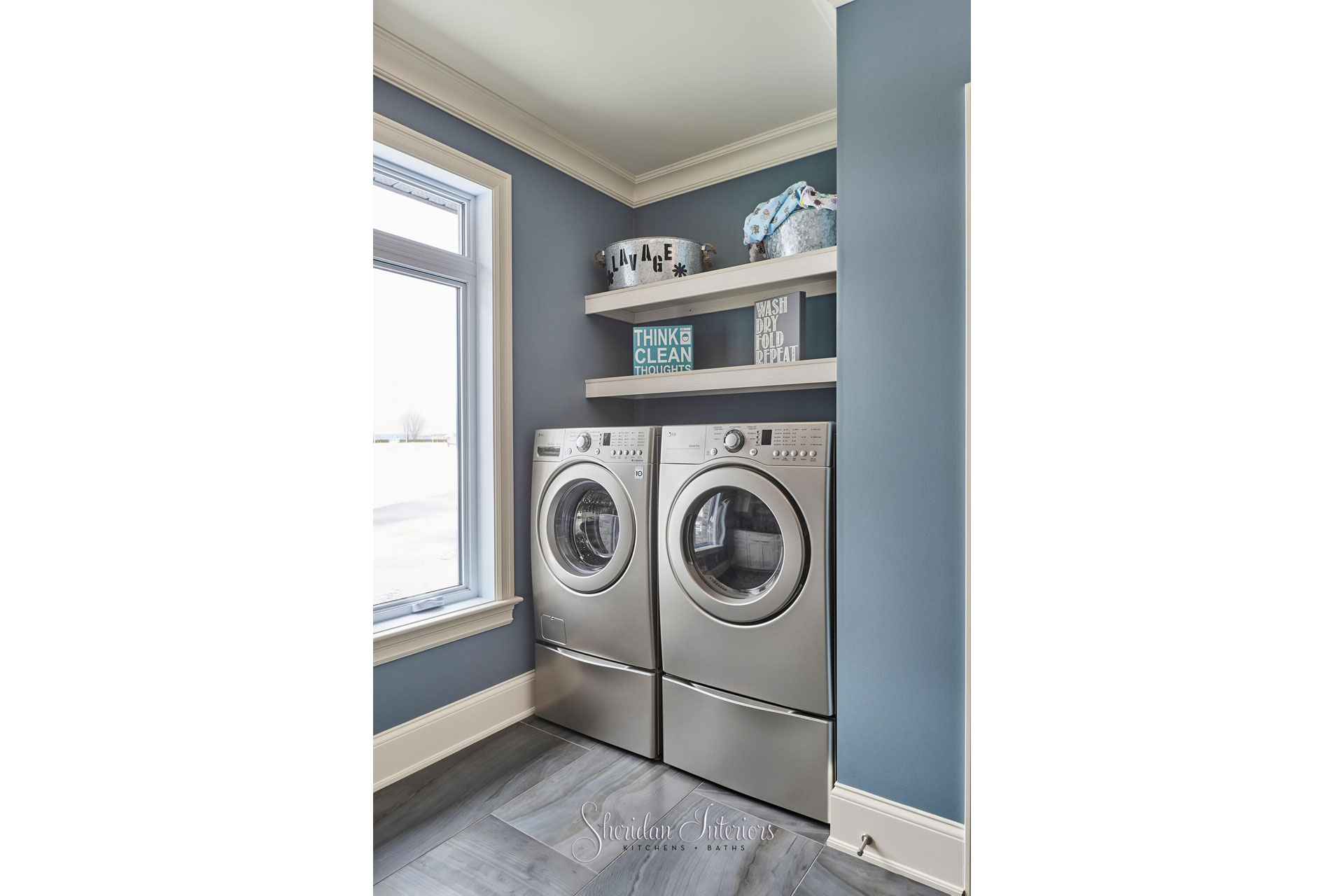 Laundry Room with Tile Floor - Sheridan Interiors