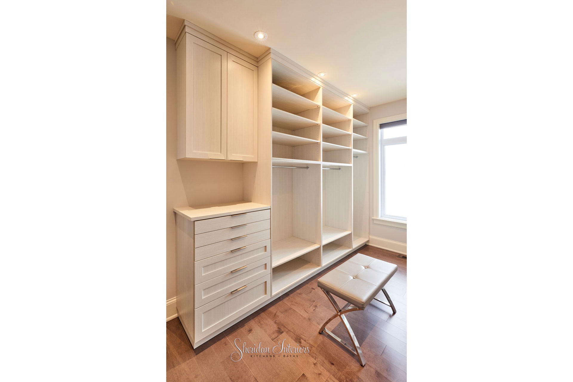 Master Bedroom Walk-in Closet Light wood tone - Sheridan Interiors