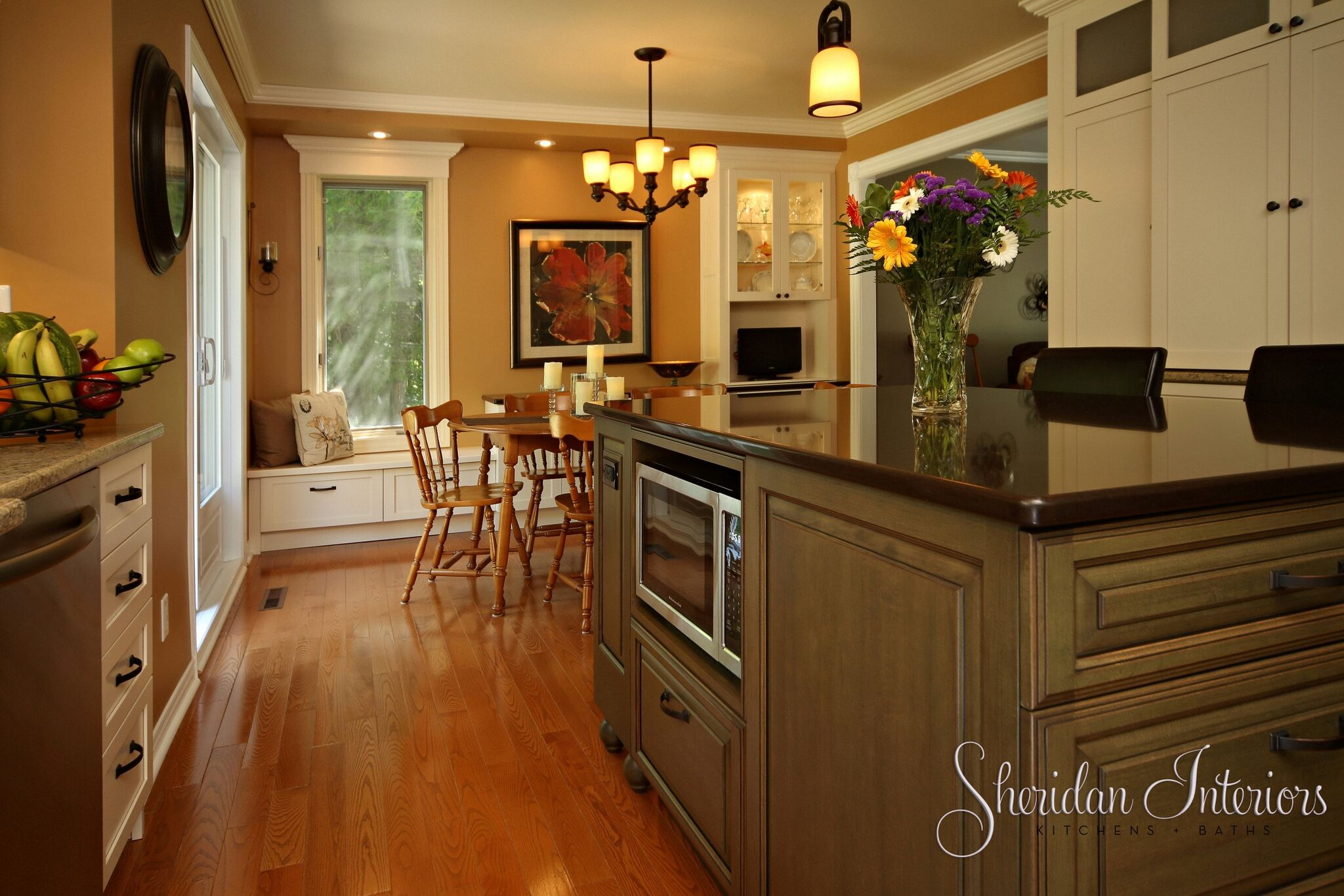 Country Kitchen with Wood Floors - Sheridan Interiors