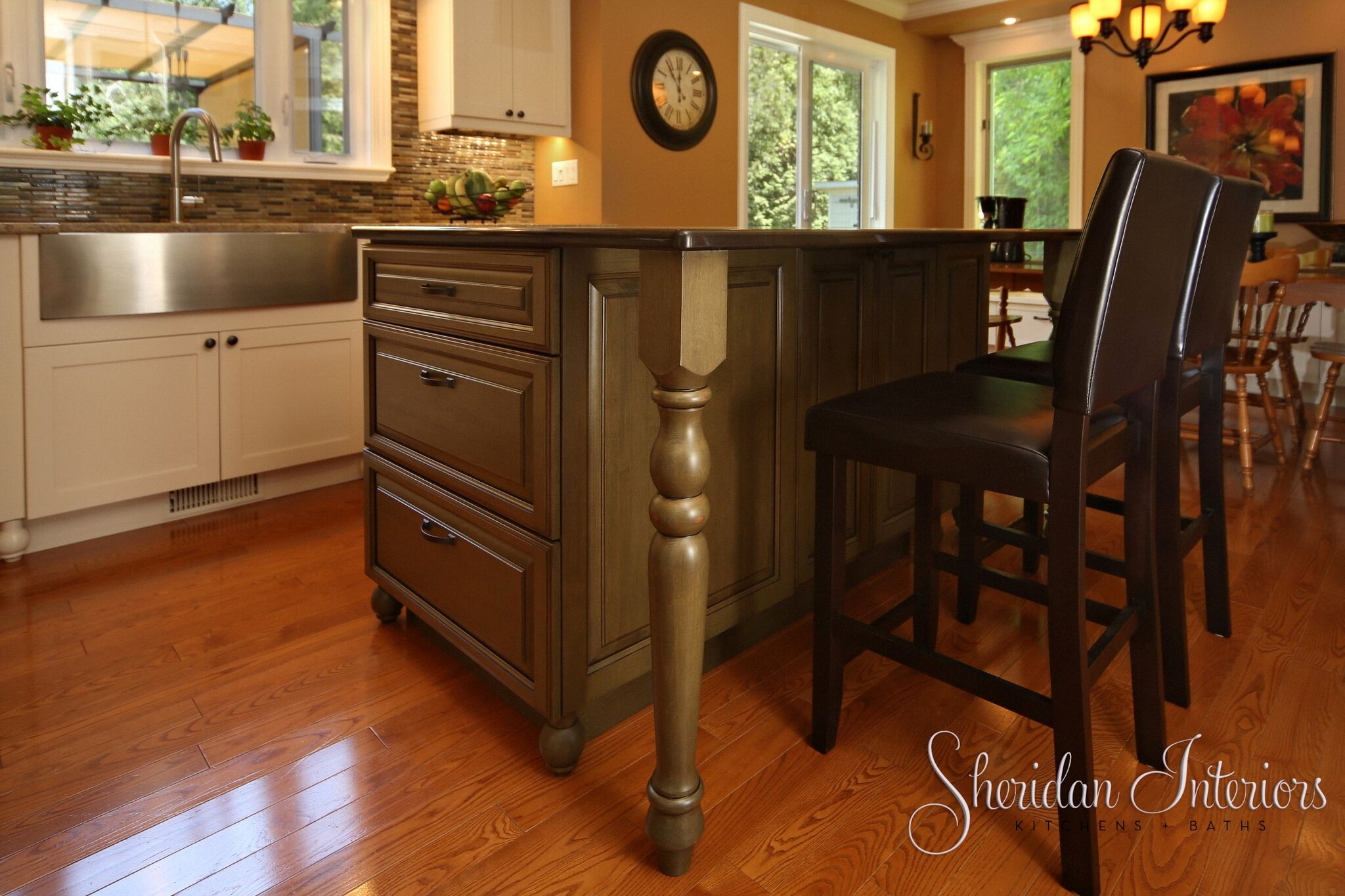 Country Kitchen with Antique Cabinets - Sheridan Interiors