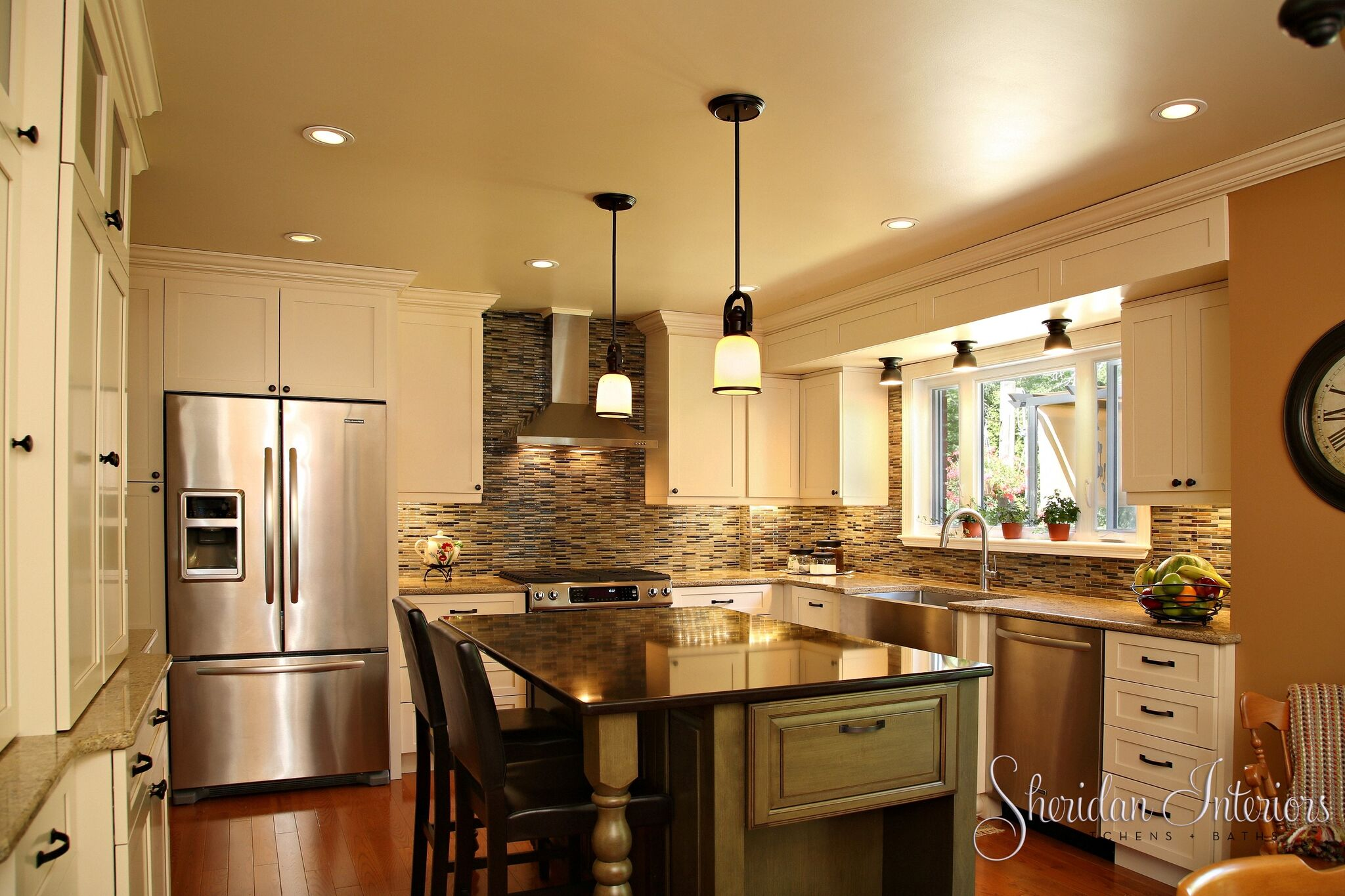 Country Kitchen with White Cabinets - Sheridan Interiors