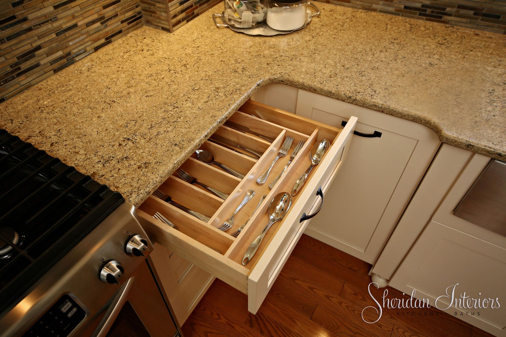 Country Kitchen with Wood Utensil Drawer - Sheridan Interiors