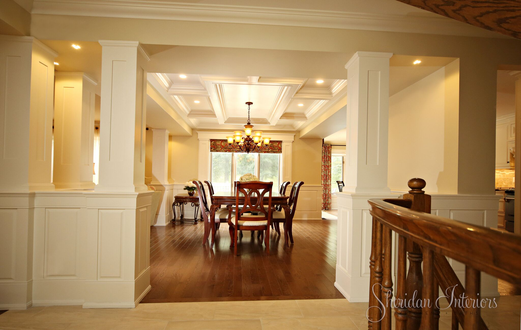 Traditional Dining Room with Coffered Ceiling and Columns - Sheridan Interiors